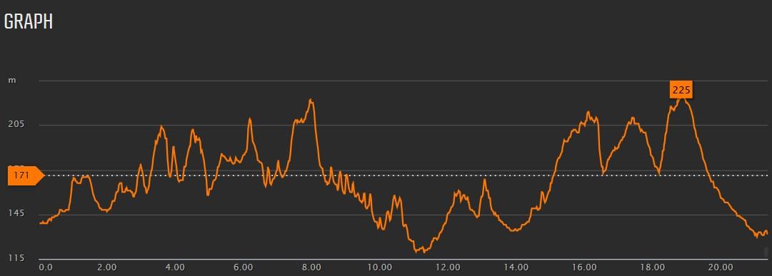 Profil biegu Rollercoaster 21km.